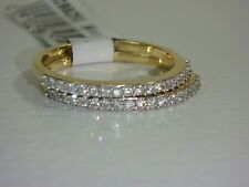 14K YELLOW GOLD SET OF 2 DIAMOND BAND RINGS 3/8 CT TW BY AFFINITY NEW QVC SIZE 8