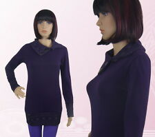 Damen Pullover Pulli Strick Kragen Langarm Feinstrick Lila Violett M L  -