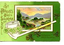 St Patrick's Day Holiday Souvenir-Pipe-Pretty Killarney Waters-Vintage Postcard