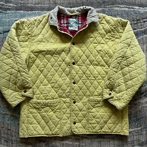Men's Vintage Nigel Cabourn Yellow Oilcloth Quilted Flannel Lined Jacket Coat XL