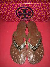 NIB Tory Burch Thora Flip Flops Logo Flat Thong Sandal 8 Metallic Spark Gold