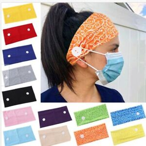 Headband Hairband with Buttons For Face Mask Turban Women Girls Headwrap 1PC