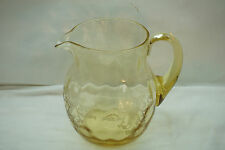 VINTAGE HEISEY GLASS WATER PITCHER OLD COLONY ETCH PATTERN SAHARA YELLOW 7.5inH
