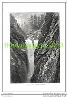 FALLS OF THE AAR AT HANDECK, SWITZERLAND, Book Illustration (Print) c1875