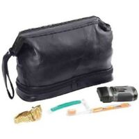 NWT Embassy Genuine Black Buffalo Leather Personal Travel Shaving Toiletry Bag