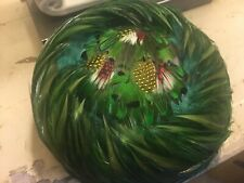 Gorgeous Vintage Pillbox Hat Colorful Green Feathers