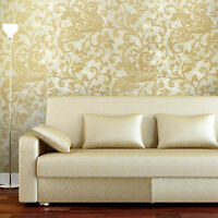 Wallpaper gold metallic textured wall rustic vintage damask wall coverings rolls