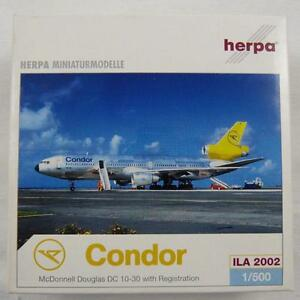 NEW HERPA WINGS 500203 CONDOR MCDONNELL DOUGLAS DC 10-30 ILA 2002 LIMITED 1:500
