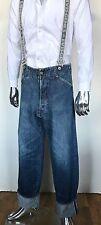 Japanese EVIS GENES EVISU RACING Washed Jumper Denim Jeans Pants Suspenders