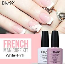 Elite99 7.3ml Nail Gel UV LED Polish French Manicure 2pc Kit Set Free Tip Guides