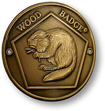 WOOD BADGE BRONZE ANTIQUE  BEAVER HIKING MEDALLION WOODBADGE