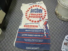 ARCHER DANIELS MIDLAND feed sack POULTRY BOOSTER  BAG OLD FARM seed