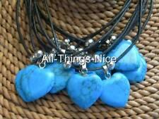 TURQUOISE Gemstone 20mm HEART Pendant Necklace Fashion Jewellery WHOLESALE 10
