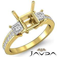 Diamond Engagement Promise Ring 3Stone Princess Semi Mount 14k Yellow Gold 0.8Ct