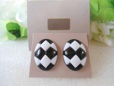 US AVON Vintage Sunsations Retro White Black Pierced Earrings 1987 Jewelry