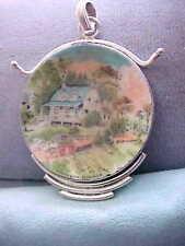 Estate Sterling Silver 925 ) Porcelain (by Currier & Ives  SUMMER)  Pendant