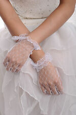 White Fishnet Lace Wrist Length Wedding Gloves Full finger -GL0006