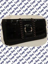 Kate Landry Black Moc Crock Wallet Zipper Closure Free Shipping Mock