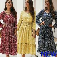 Floral Evening Long Sleeve Party V Neck Dresses Casual Cocktail Maxi Boho Loose