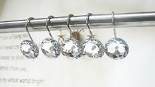 12pcs Decorative Shower Curtain Hooks Ring Crystal Rhinestone Bathroom Bath Tool