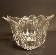 Signed LALIQUE FRANCE Art Glass Tulips Crystal Centerpiece Bowl w/ flowers