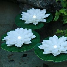 White LED Floating Lily Lights Up In Water White LED - 1 Floating Lily