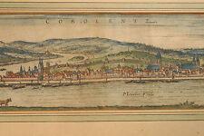 "Koblenz 1580 Panoramaansicht Georg Braun Hogenberg  ""Cobolentz"" Altkoloriert"
