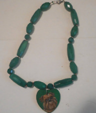 Brussels Griffon Dog Beaded Green Necklace Hand Painted Ceramic Pendant