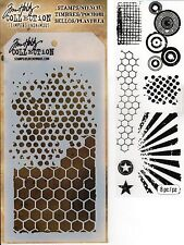 Tim Holtz Mixed Media Stencil & Stamp Pack - Honeycomb, Bubble, Circles, Rays