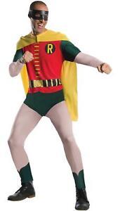 Mens Costume Robin Fancy Dress Batman DC Comic 1966