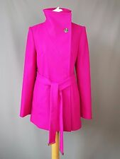 """Ted Baker jacket """"chessy"""" short wool cashmere blend deep pink Wrap SIZE 1 UK 8"""