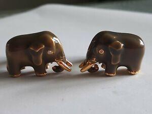 Vintage Elephant Cufflinks MMA Gray Enamel Gold Tone Metropolitan Museum of Art