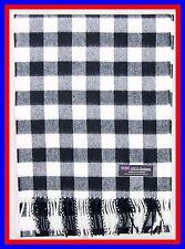 100% Cashmere Scarf Black White Check Plaid Scottish Ghram Nova Wool Men Z013