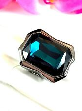 NWT CHICO'S FAUX HEMATITE FINISH SAPPHIRE BLUE RHINESTONE CLEO COCKTAIL RING S 7