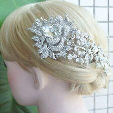 Gorgeous Bridal Hair Comb Clear Rhinestone Crystal Flower Hair Comb 04705C1