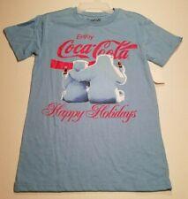 COCA-COLA POLAR BEARS Happy Holidays TEE T-Shirt Men's Size SMALL 34-36 NWT Blue