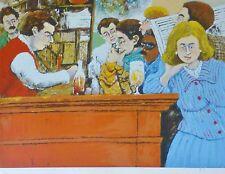 David Azuz The Café Select Montparnasse HAND SIGNED LITHO French expressionist A