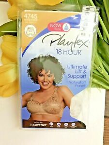 NEW! Playtex 18 Hour 4745 Ultimate Lift & Support Wirefree Bra Size 42B White