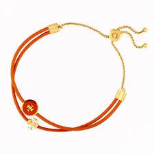 New Tory Burch Enamel Logo-Slider Bracelet in Orange with pouch