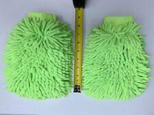 Lot of 2pcs Car Wash Washing Microfiber Chenille mitt Cleaning Green Glove