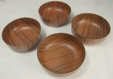 Set of 4 Vintage Robex Wood Effect Plastic Bowls B 4117 - One w/ damage