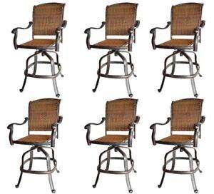 Patio wicker bar stools with arms set of 6 Santa Clara cast aluminum Dark Bronze