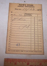 1953 PLEW'S STORE Sales Receipt RILEY INDIANA - Grocery Store