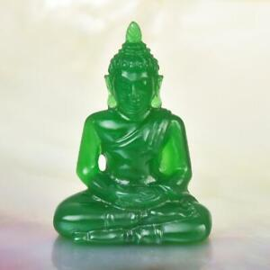 Miniature Image of the Buddha Sculpture Green Garut Chalcedony Carving 22.80 cts