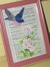 Vtg Shabby Chic BLUE BIRD, PINK ROSES~Frame~Print/Picture~Cottage Decor