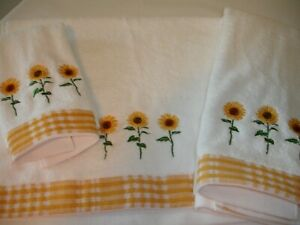 New! S/3 Embroidered Floral Sunflowers Terry Cotton Fingertip Towel Hand Towels