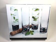 Artland The Mojito Set 4 Highball Glasses 1 Wood Muddler Cocktail Barware