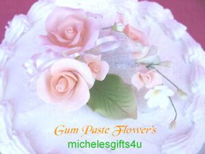 FREE SHIPPING Gum Paste Peach Roses Sugar Cake Decorating Flowers