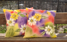 Hand-painted 2 Pillow Covers Acrylic Painting, Decorative 100% Cotton Pillowcase