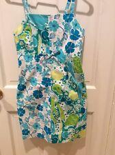 Lilly Pulitzer Sundress Size 2, Blue/Green Flowers, Turtles, & Veggies! Rare!